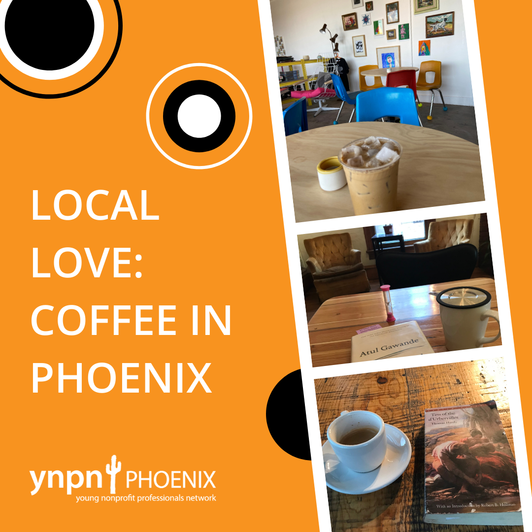 Graphic with photos at Pip Coffee + Clay, Songbird Coffee, and Sip Scottsdale.